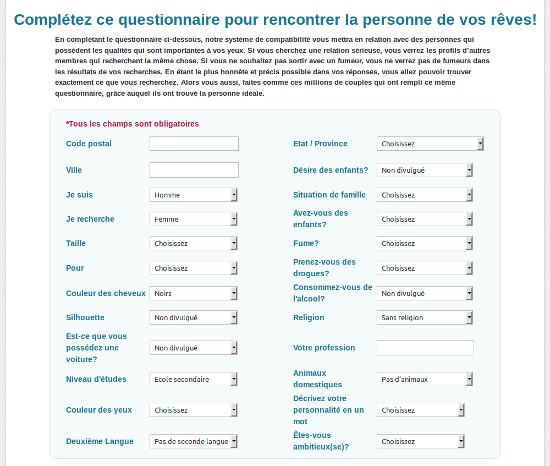 plenty of fish questionnaire inscription